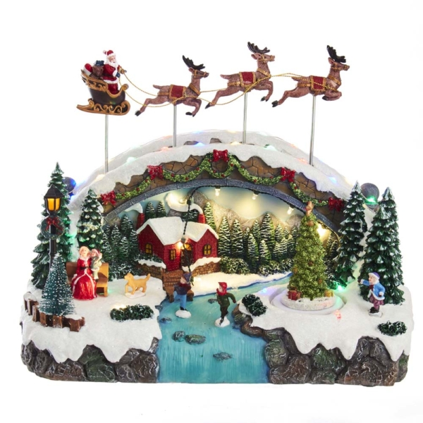 """10.5"""" Musical LED Village with santa and Reindeer Motion, Battery Operated"""