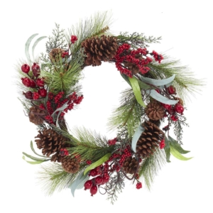 "20"" Red Berries/Leaves/Pinecones Wreath"