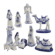 "1.97"" - 6.7"" 11pc Porcelain Delft Blue Nativity Scene"