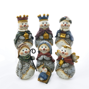 "6"" 7pc Resin Snowmen Nativity Scene set, Battery Operated"