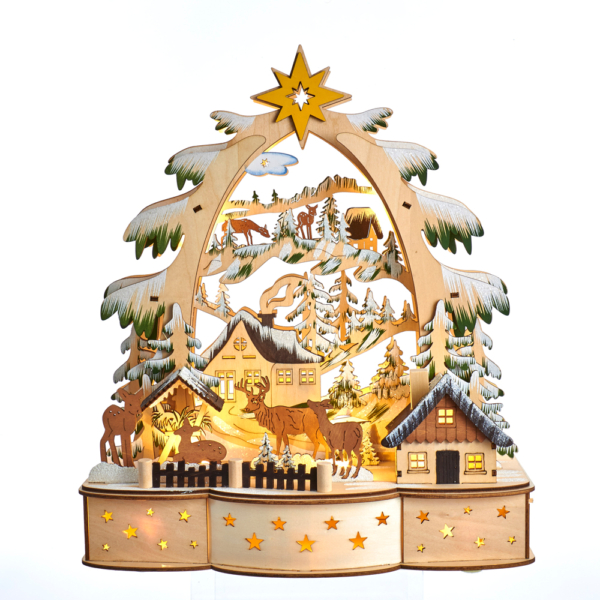 """13.75"""" Battery Operated LED Wooden Scene"""