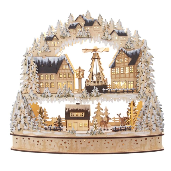 """16"""" Battery Operated LED Wooden Scene with Motion"""