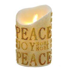 "5"" Battery Operated Wax Candle Gold Glitter words ""Peace/Joy"" with Realistic Flicker Effect"