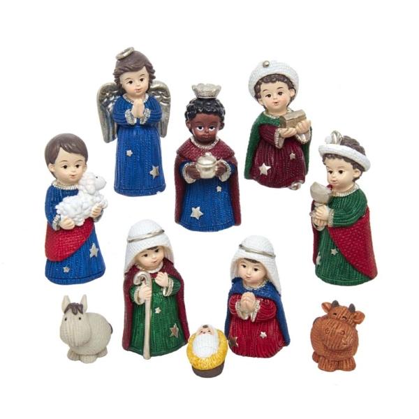 """1.25"""" - 3"""" 10pc Children Nativity Set"""