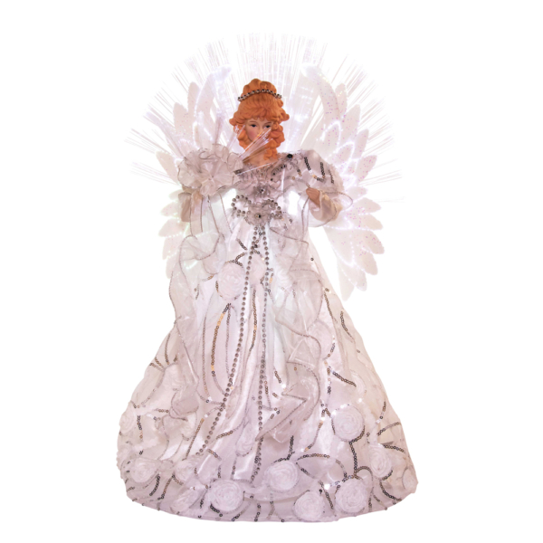 """18"""" White/Silver Angel Tree Topper with Fiber Optic LED"""