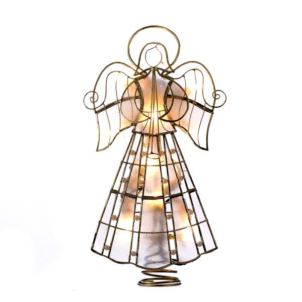 "9.75"" Capiz Angel Tree Topper with 10 Incandescent Lights"