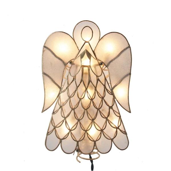 "9.5"" Capiz Angel Tree Topper with 10 Incandescent Lights"